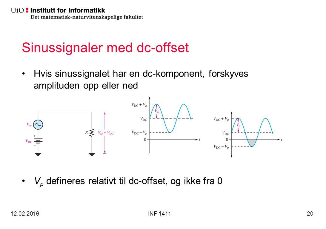 Sinussignaler med dc-offset Hvis sinussignalet har en dc-komponent, forskyves amplituden opp eller ned V p defineres relativt til dc-offset, og ikke fra 0 12.02.2016INF 141120