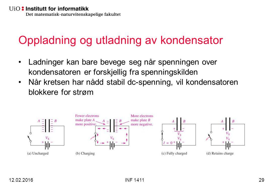 Oppladning og utladning av kondensator Ladninger kan bare bevege seg når spenningen over kondensatoren er forskjellig fra spenningskilden Når kretsen har nådd stabil dc-spenning, vil kondensatoren blokkere for strøm 12.02.2016INF 141129