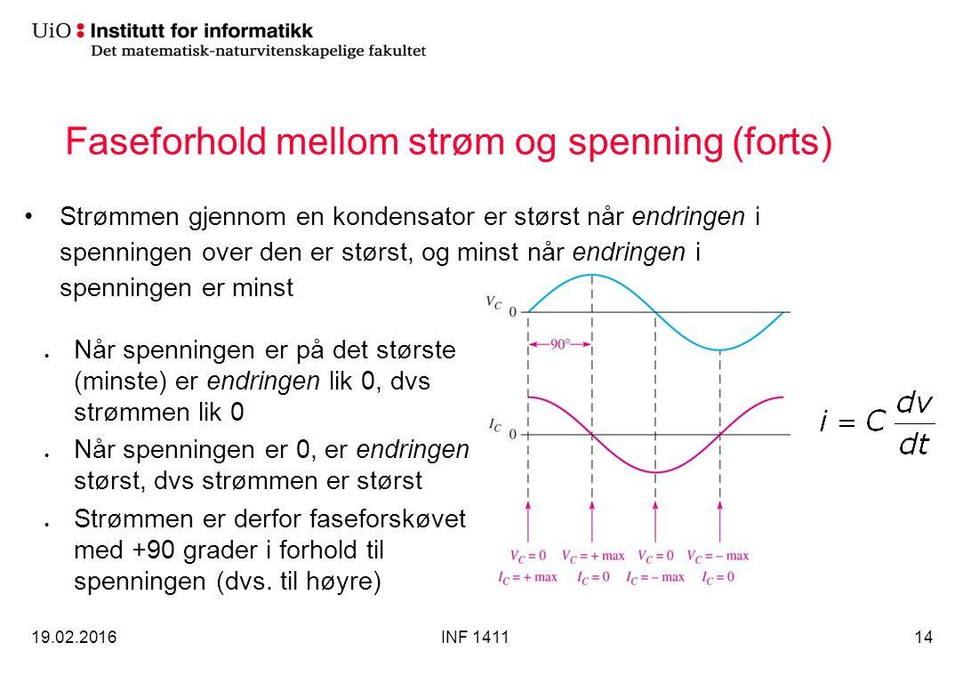 Faseforhold mellom strøm og spenning (forts) Strømmen gjennom en kondensator er størst når endringen i spenningen over den er størst, og minst når end