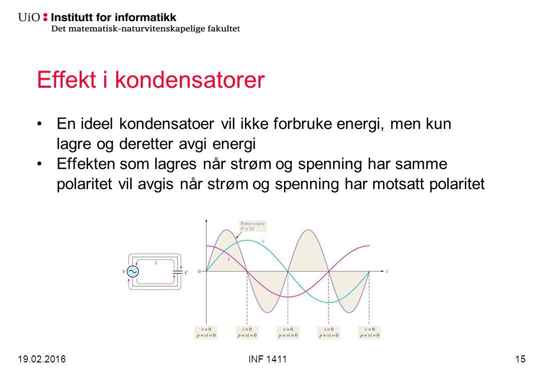 Effekt i kondensatorer En ideel kondensatoer vil ikke forbruke energi, men kun lagre og deretter avgi energi Effekten som lagres når strøm og spenning