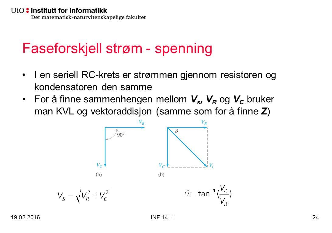 Faseforskjell strøm - spenning I en seriell RC-krets er strømmen gjennom resistoren og kondensatoren den samme For å finne sammenhengen mellom V s, V