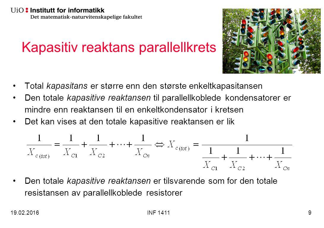 Kapasitiv reaktans parallellkrets Total kapasitans er større enn den største enkeltkapasitansen Den totale kapasitive reaktansen til parallellkoblede