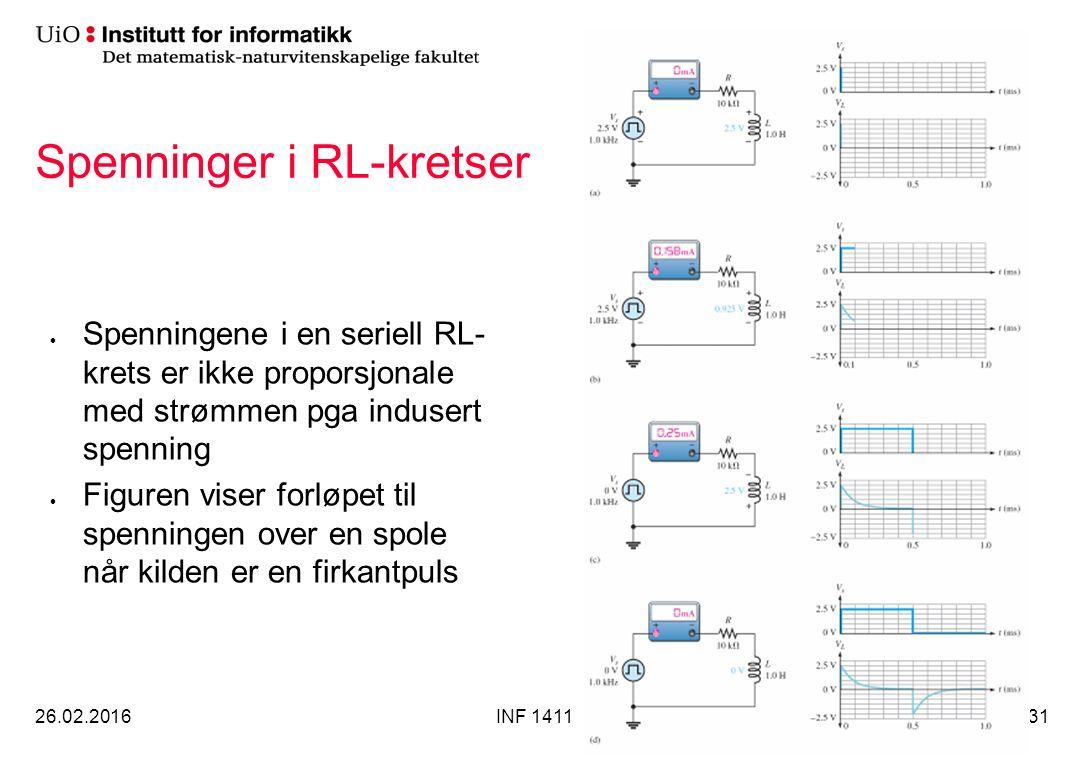 Spenninger i RL-kretser 26.02.2016INF 141131 Spenningene i en seriell RL- krets er ikke proporsjonale med strømmen pga indusert spenning Figuren viser forløpet til spenningen over en spole når kilden er en firkantpuls