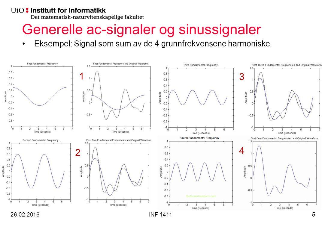 Generelle ac-signaler og sinussignaler Eksempel: Signal som sum av de 4 grunnfrekvensene harmoniske 26.02.2016INF 14115 1 2 4 3