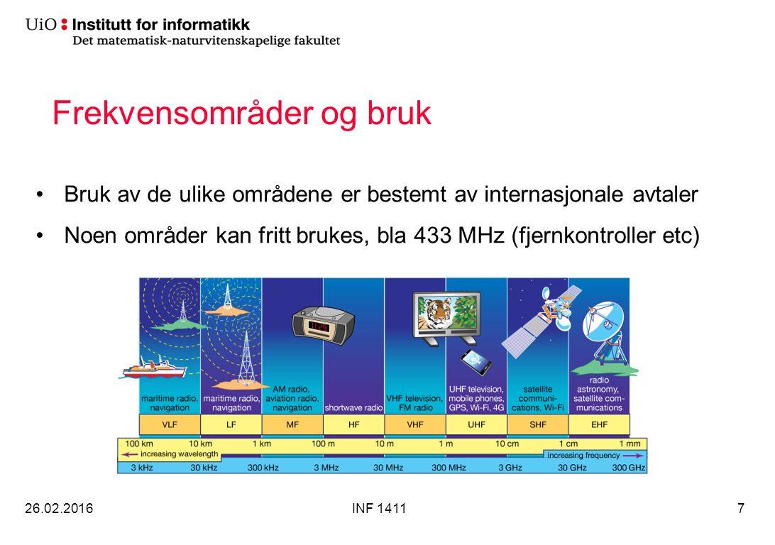 Frekvensområder og bruk Bruk av de ulike områdene er bestemt av internasjonale avtaler Noen områder kan fritt brukes, bla 433 MHz (fjernkontroller etc) 26.02.2016INF 14117
