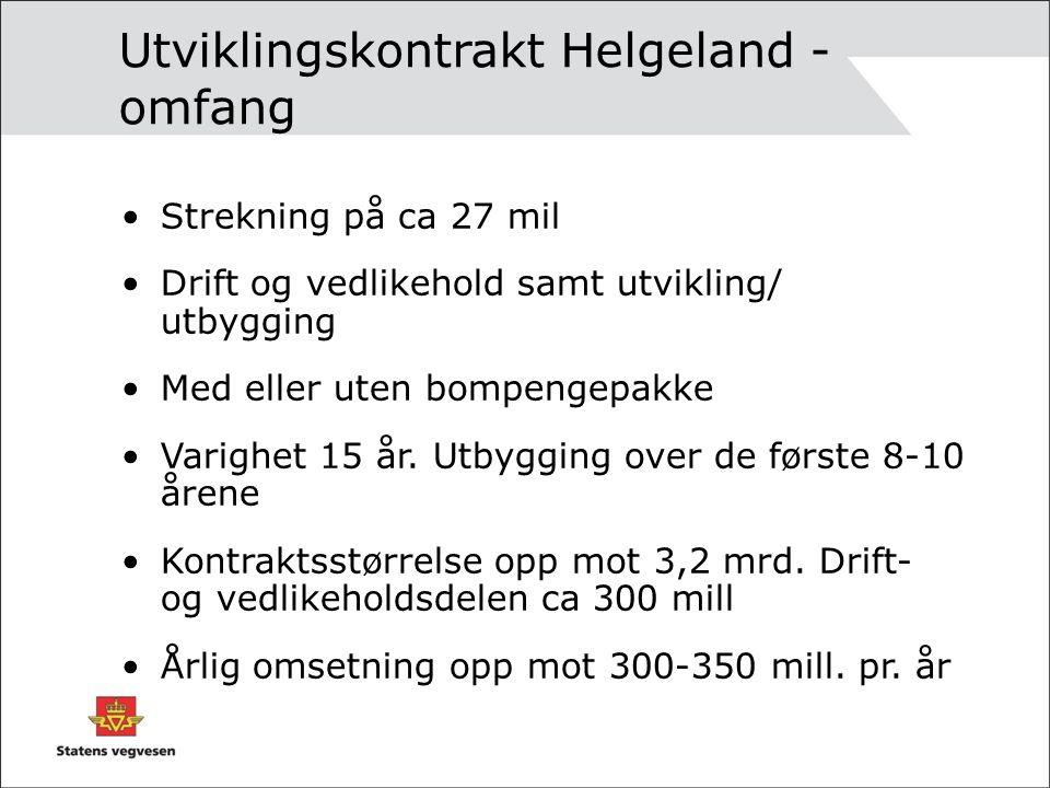 Utviklingskontrakt Helgeland - omfang Strekning på ca 27 mil Drift og vedlikehold samt utvikling/ utbygging Med eller uten bompengepakke Varighet 15 år.