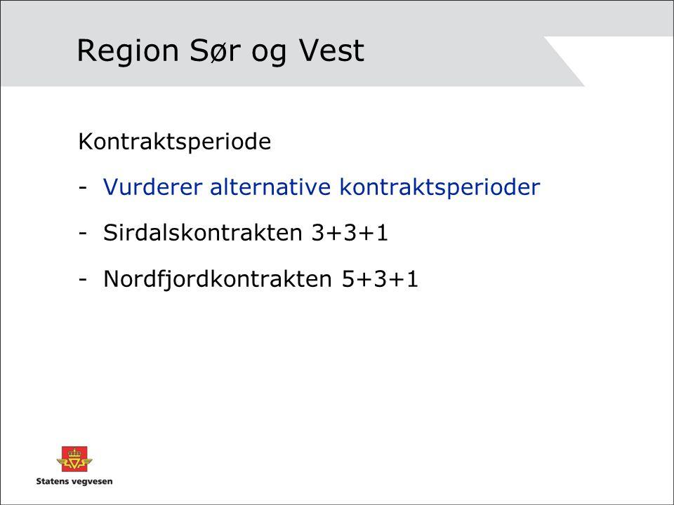 Region Sør og Vest Kontraktsperiode -Vurderer alternative kontraktsperioder -Sirdalskontrakten 3+3+1 -Nordfjordkontrakten 5+3+1