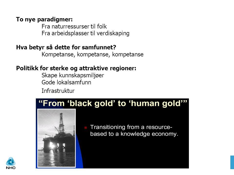 To nye paradigmer: Fra naturressurser til folk Fra arbeidsplasser til verdiskaping Hva betyr så dette for samfunnet.