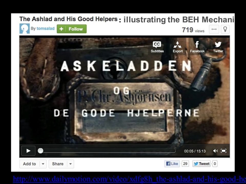 http://www.dailymotion.com/video/xdfg8h_the-ashlad-and-his-good-helpers_shortfilms : illustrating the BEH Mechanism