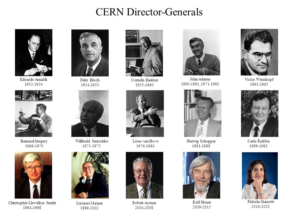CERN Director-Generals Edoardo Amaldi 1952-1954 Felix Bloch 1954-1955 Cornelis Bakker 1955-1960 John Adams 1960-1961, 1971-1980 Victor Weisskopf 1961-