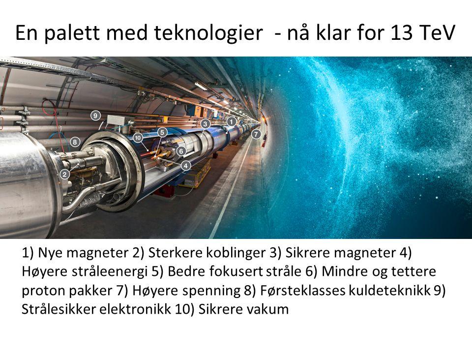 En palett med teknologier - nå klar for 13 TeV 1) Nye magneter 2) Sterkere koblinger 3) Sikrere magneter 4) Høyere stråleenergi 5) Bedre fokusert stråle 6) Mindre og tettere proton pakker 7) Høyere spenning 8) Førsteklasses kuldeteknikk 9) Strålesikker elektronikk 10) Sikrere vakum