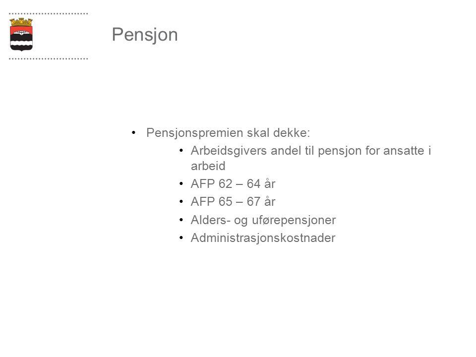 Pensjon Pensjonspremien skal dekke: Arbeidsgivers andel til pensjon for ansatte i arbeid AFP 62 – 64 år AFP 65 – 67 år Alders- og uførepensjoner Admin