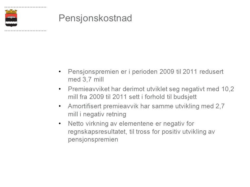 Pensjonskostnad Pensjonspremien er i perioden 2009 til 2011 redusert med 3,7 mill Premieavviket har derimot utviklet seg negativt med 10,2 mill fra 20