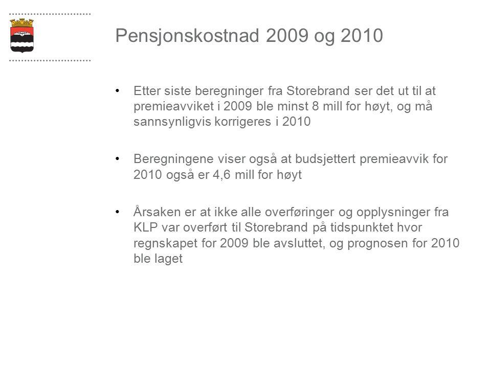 Pensjonskostnad 2009 og 2010 Etter siste beregninger fra Storebrand ser det ut til at premieavviket i 2009 ble minst 8 mill for høyt, og må sannsynligvis korrigeres i 2010 Beregningene viser også at budsjettert premieavvik for 2010 også er 4,6 mill for høyt Årsaken er at ikke alle overføringer og opplysninger fra KLP var overført til Storebrand på tidspunktet hvor regnskapet for 2009 ble avsluttet, og prognosen for 2010 ble laget