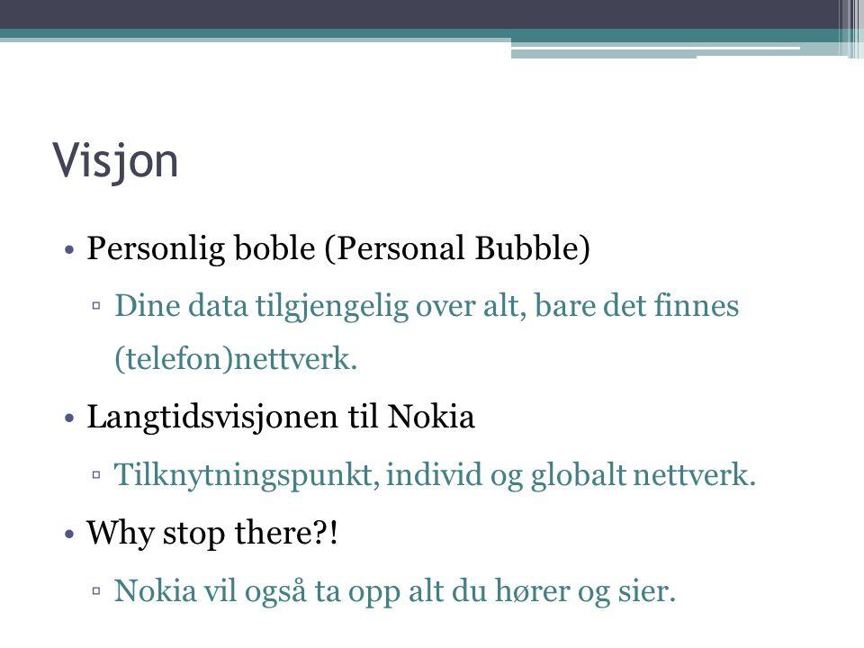 Visjon Personlig boble (Personal Bubble) ▫Dine data tilgjengelig over alt, bare det finnes (telefon)nettverk.