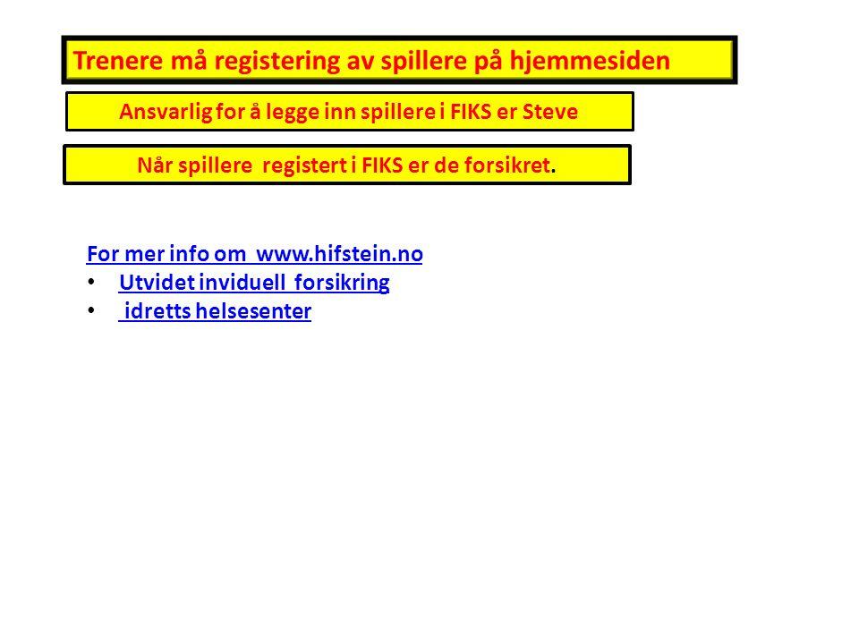 Når spillere registert i FIKS er de forsikret. Ansvarlig for å legge inn spillere i FIKS er Steve Trenere må registering av spillere på hjemmesiden Fo