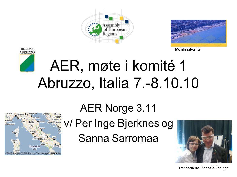 AER, møte i komité 1 Abruzzo, Italia 7.-8.10.10 AER Norge 3.11 v/ Per Inge Bjerknes og Sanna Sarromaa Trendsetterne Sanna & Per Inge Montesilvano