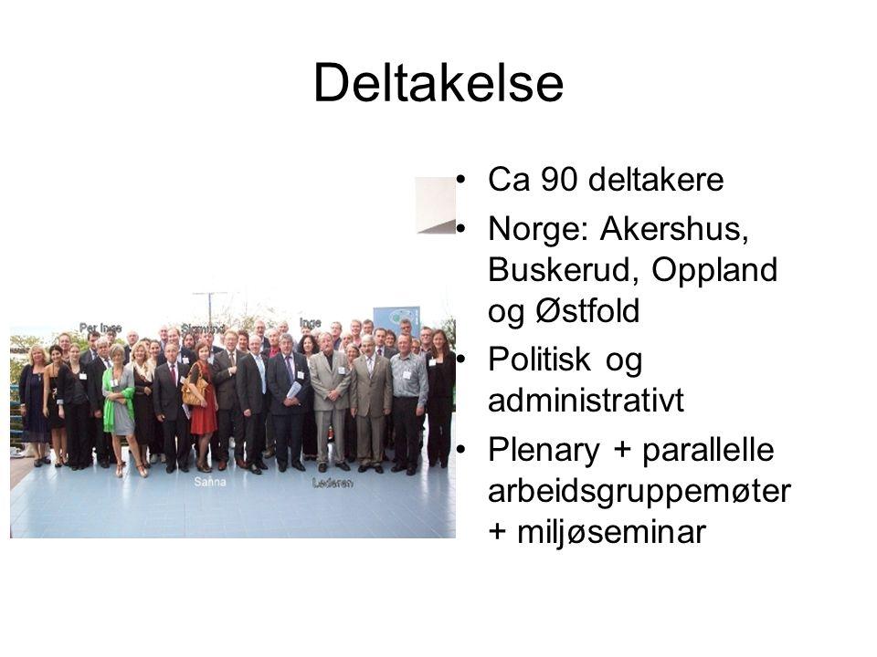 Deltakelse Ca 90 deltakere Norge: Akershus, Buskerud, Oppland og Østfold Politisk og administrativt Plenary + parallelle arbeidsgruppemøter + miljøseminar