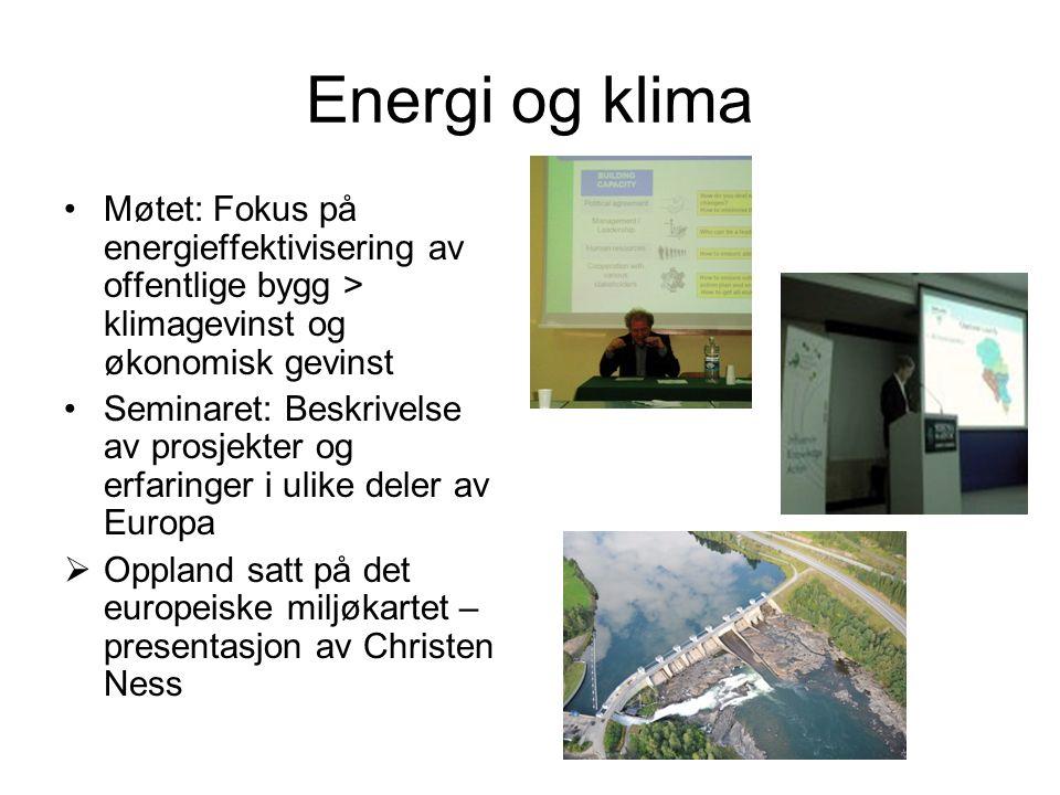 Energi og klima Møtet: Fokus på energieffektivisering av offentlige bygg > klimagevinst og økonomisk gevinst Seminaret: Beskrivelse av prosjekter og e