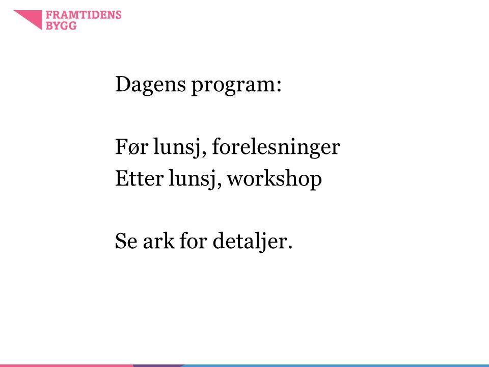 Dagens program: Før lunsj, forelesninger Etter lunsj, workshop Se ark for detaljer.