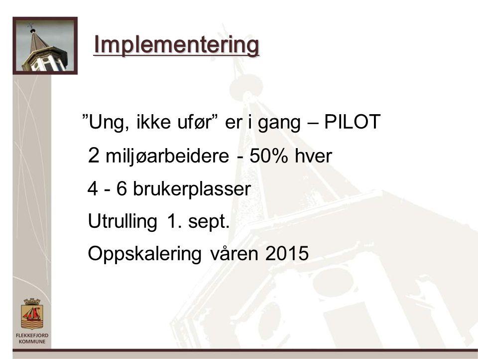 Implementering Ung, ikke ufør er i gang – PILOT 2 miljøarbeidere - 50% hver 4 - 6 brukerplasser Utrulling 1.