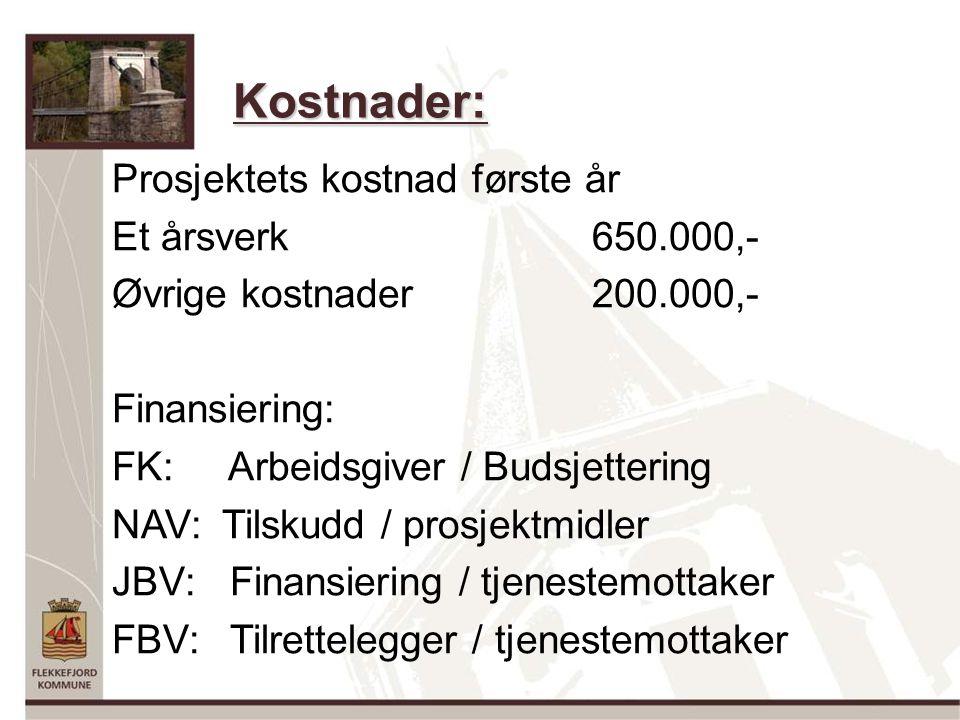 Kostnader: Prosjektets kostnad første år Et årsverk650.000,- Øvrige kostnader200.000,- Finansiering: FK: Arbeidsgiver / Budsjettering NAV: Tilskudd / prosjektmidler JBV: Finansiering / tjenestemottaker FBV: Tilrettelegger / tjenestemottaker