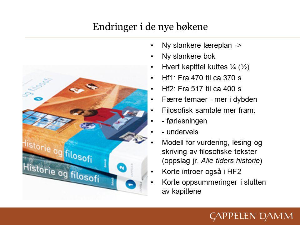Endringer i de nye bøkene Ny slankere læreplan -> Ny slankere bok Hvert kapittel kuttes ¼ (½) Hf1: Fra 470 til ca 370 s Hf2: Fra 517 til ca 400 s Færre temaer - mer i dybden Filosofisk samtale mer fram: - førlesningen - underveis Modell for vurdering, lesing og skriving av filosofiske tekster (oppslag jr.