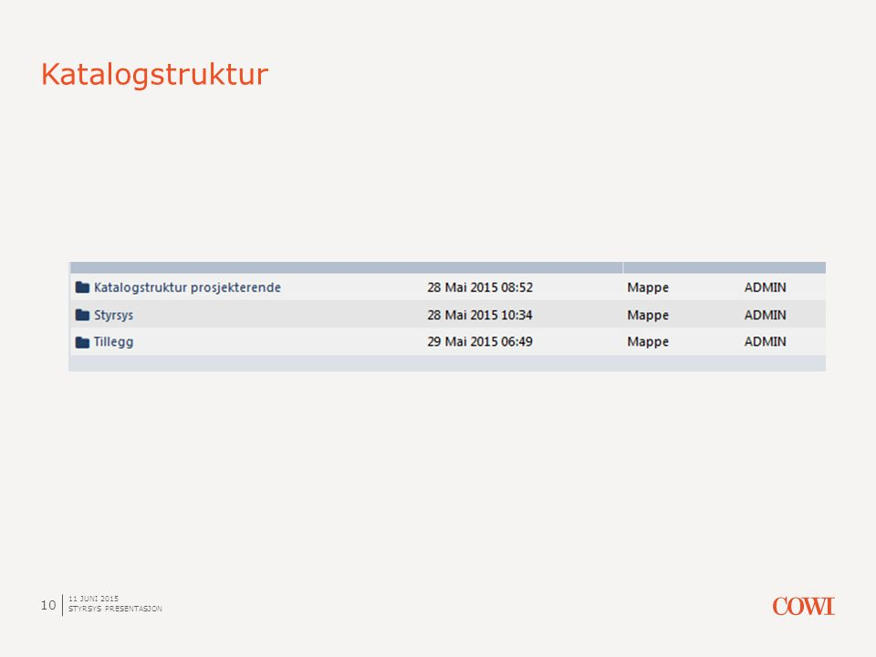 Katalogstruktur 11 JUNI 2015 STYRSYS PRESENTASJON 10