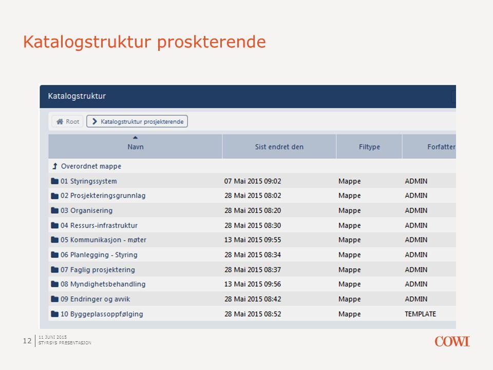 Katalogstruktur proskterende 11 JUNI 2015 STYRSYS PRESENTASJON 12