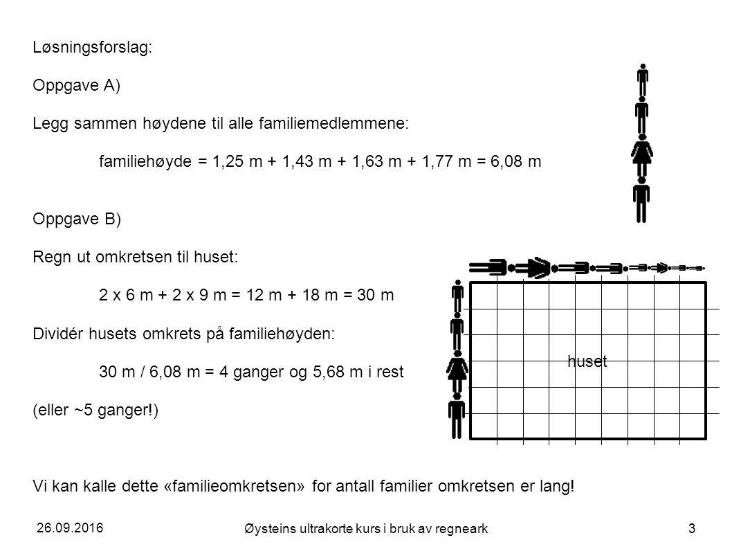 26.09.2016 Øysteins ultrakorte kurs i bruk av regneark 3 Løsningsforslag: Oppgave A) Legg sammen høydene til alle familiemedlemmene: familiehøyde = 1,25 m + 1,43 m + 1,63 m + 1,77 m = 6,08 m Oppgave B) Regn ut omkretsen til huset: 2 x 6 m + 2 x 9 m = 12 m + 18 m = 30 m Dividér husets omkrets på familiehøyden: 30 m / 6,08 m = 4 ganger og 5,68 m i rest (eller ~5 ganger!) Vi kan kalle dette «familieomkretsen» for antall familier omkretsen er lang.