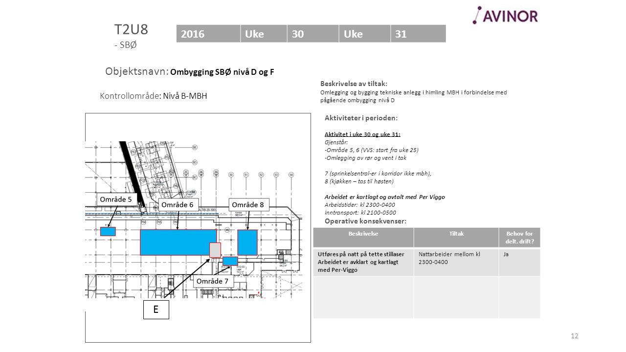 Bilde av område (Helst med en markering av området som berøres) Aktiviteter i perioden: Aktivitet i uke 30 og uke 31: Gjenstår: -Område 5, 6 (VVS: sta