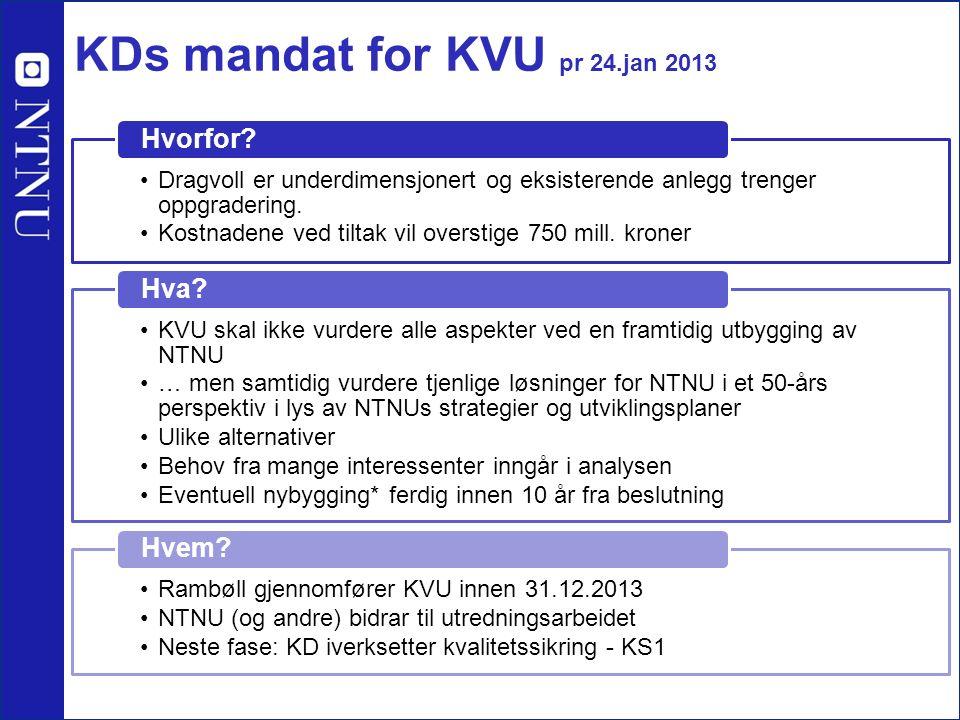 KDs mandat for KVU pr 24.jan 2013 Dragvoll er underdimensjonert og eksisterende anlegg trenger oppgradering. Kostnadene ved tiltak vil overstige 750 m