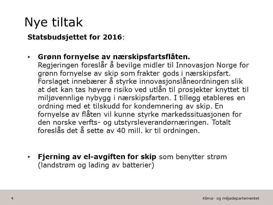Klima- og miljødepartementet Norsk mal: Tekst med kulepunkter HUSK: krediter fotograf om det brukes bilde Vil du endre Bunnteksten.