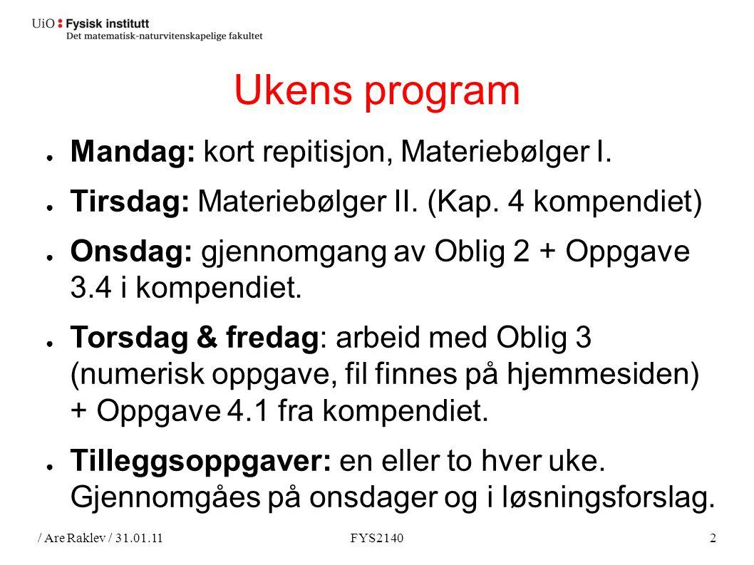 / Are Raklev / 31.01.11FYS21402 Ukens program ● Mandag: kort repitisjon, Materiebølger I.