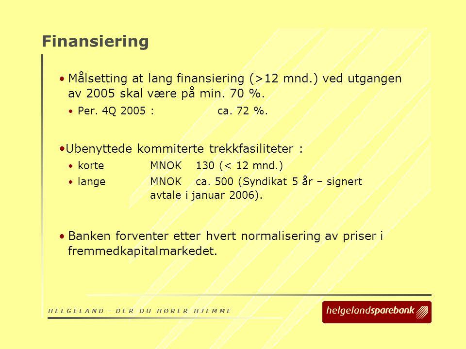 H E L G E L A N D – D E R D U H Ø R E R H J E M M E Finansiering Målsetting at lang finansiering (>12 mnd.) ved utgangen av 2005 skal være på min.