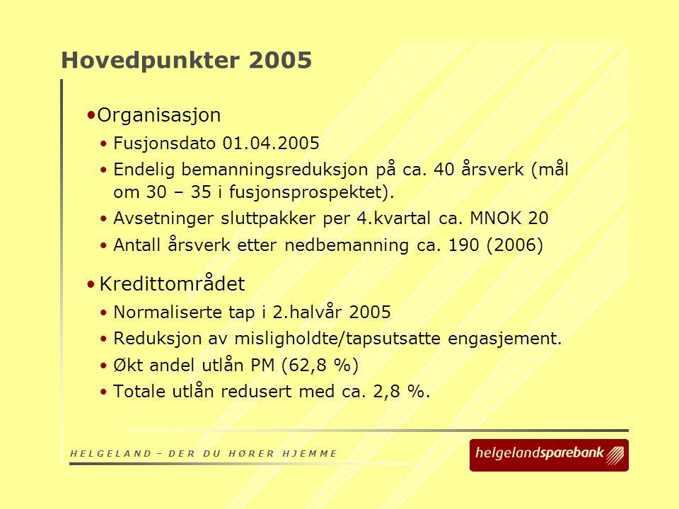 H E L G E L A N D – D E R D U H Ø R E R H J E M M E Hovedpunkter 2005 Organisasjon Fusjonsdato 01.04.2005 Endelig bemanningsreduksjon på ca.