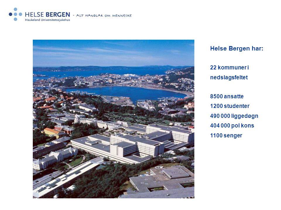 Helse Bergen har: 22 kommuner i nedslagsfeltet 8500 ansatte 1200 studenter 490 000 liggedøgn 404 000 pol kons 1100 senger