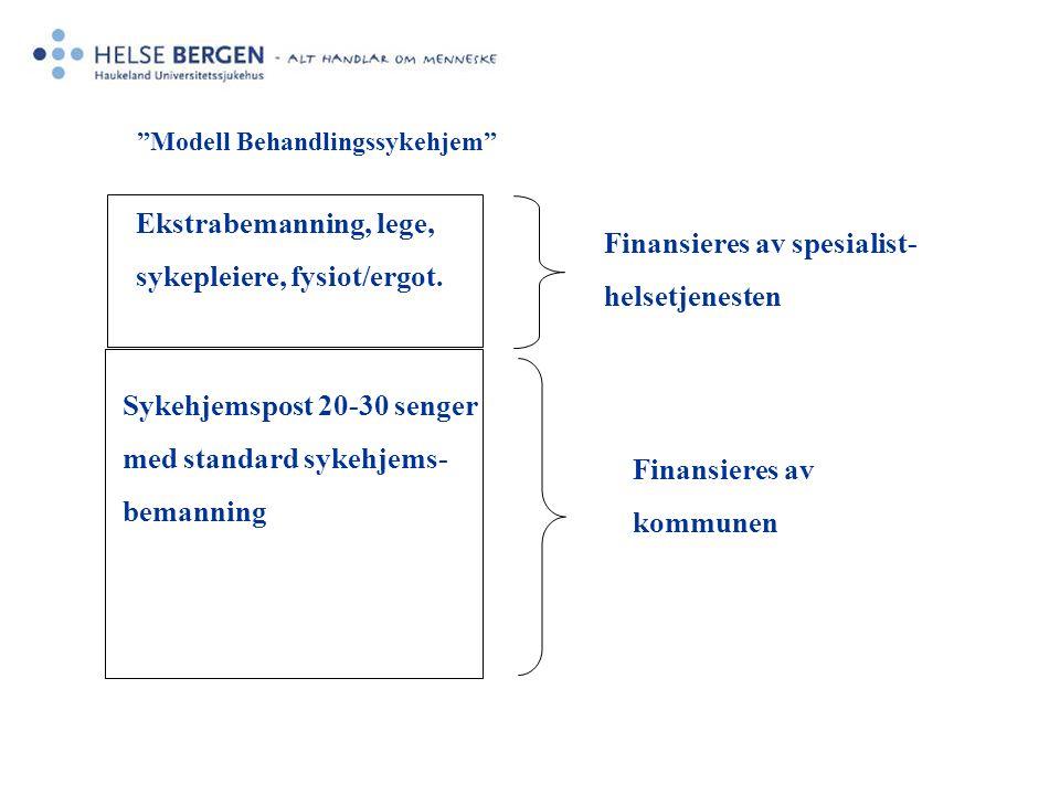 Sykehjemspost 20-30 senger med standard sykehjems- bemanning Finansieres av kommunen Ekstrabemanning, lege, sykepleiere, fysiot/ergot.