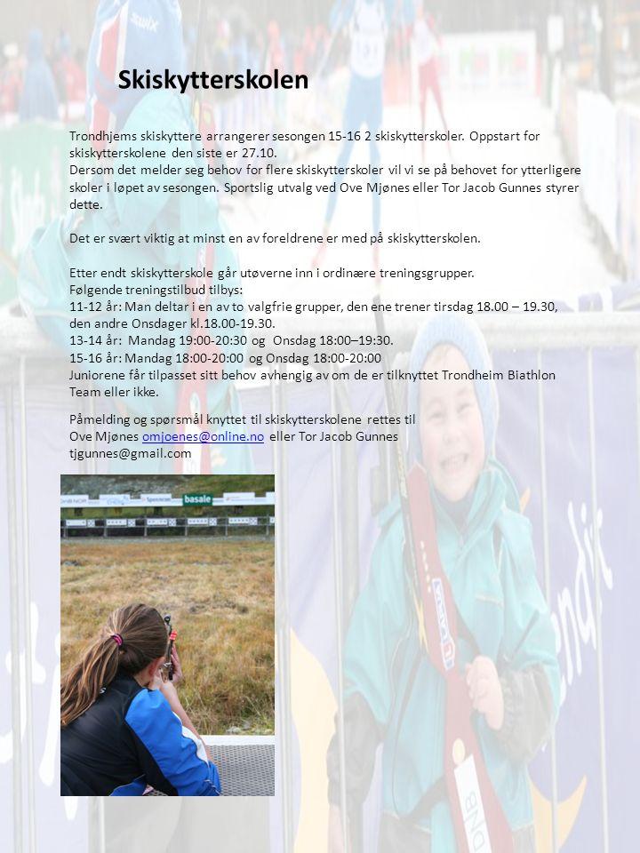 Skiskytterskolen Trondhjems skiskyttere arrangerer sesongen 15-16 2 skiskytterskoler.