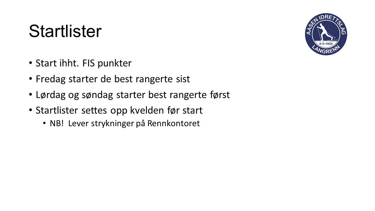 Startlister Start ihht.