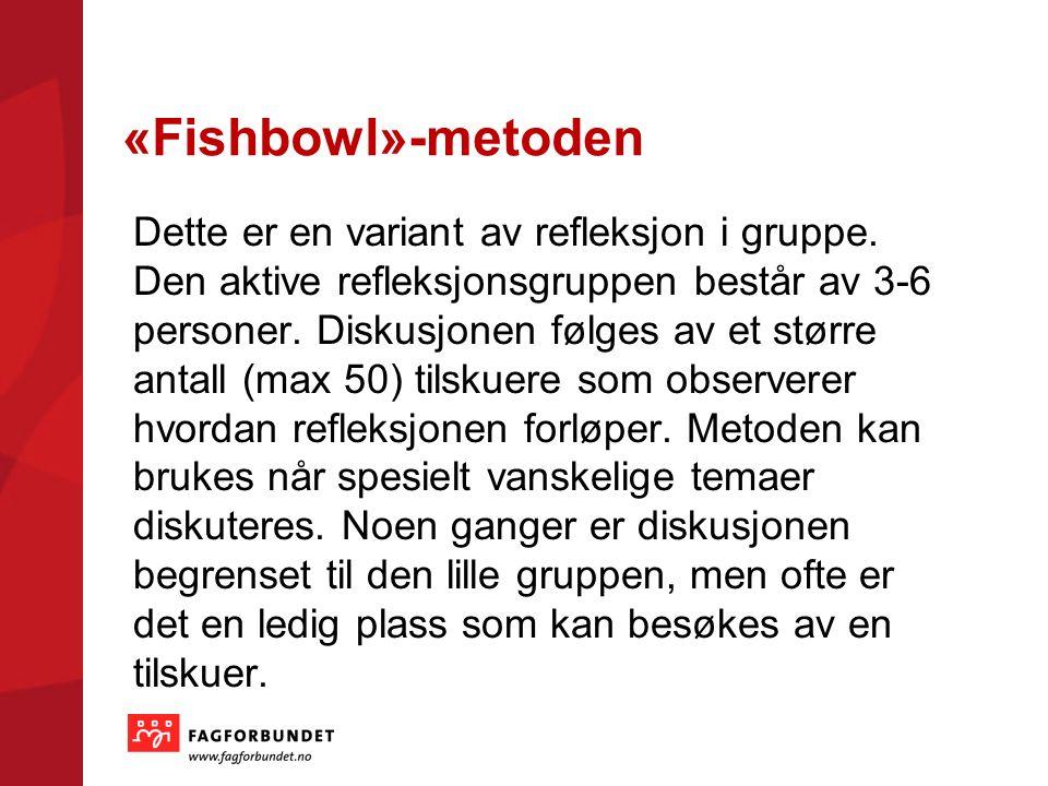 «Fishbowl»-metoden Dette er en variant av refleksjon i gruppe.