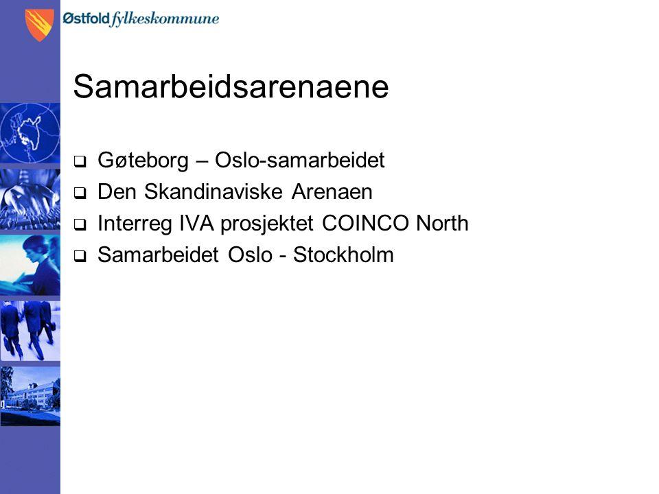 Samarbeidsarenaene  Gøteborg – Oslo-samarbeidet  Den Skandinaviske Arenaen  Interreg IVA prosjektet COINCO North  Samarbeidet Oslo - Stockholm