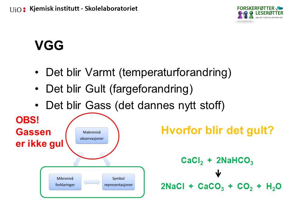 Kjemisk institutt - Skolelaboratoriet VGG Det blir Varmt (temperaturforandring) Det blir Gult (fargeforandring) Det blir Gass (det dannes nytt stoff) OBS.