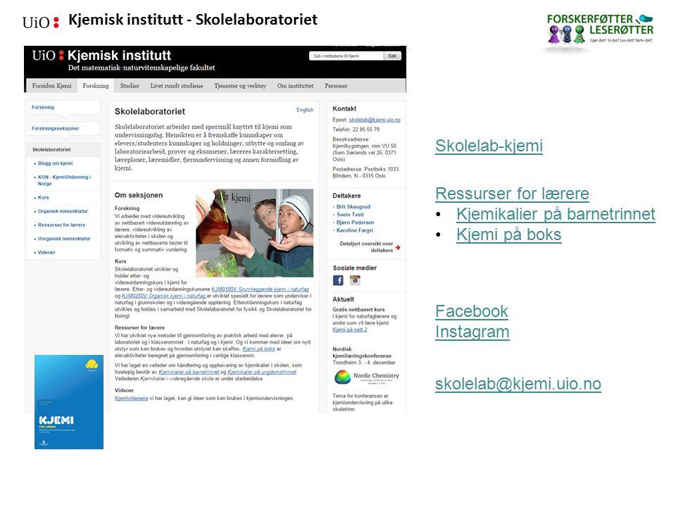 Kjemisk institutt - Skolelaboratoriet Forsøk med faste stoffer 1.