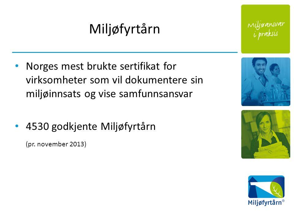 Miljøfyrtårn Norges mest brukte sertifikat for virksomheter som vil dokumentere sin miljøinnsats og vise samfunnsansvar 4530 godkjente Miljøfyrtårn (pr.