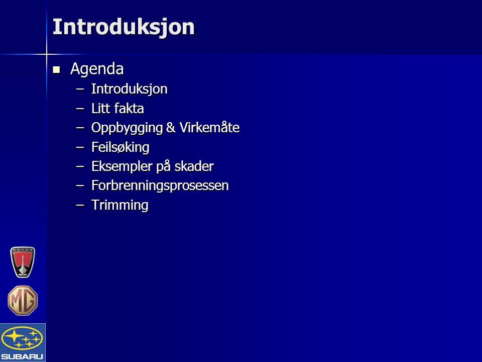 Introduksjon Agenda Agenda –Introduksjon –Litt fakta –Oppbygging & Virkemåte –Feilsøking –Eksempler på skader –Forbrenningsprosessen –Trimming