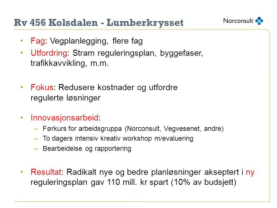 Rv 456 Kolsdalen - Lumberkrysset Fag: Vegplanlegging, flere fag Utfordring: Stram reguleringsplan, byggefaser, trafikkavvikling, m.m. Fokus: Redusere