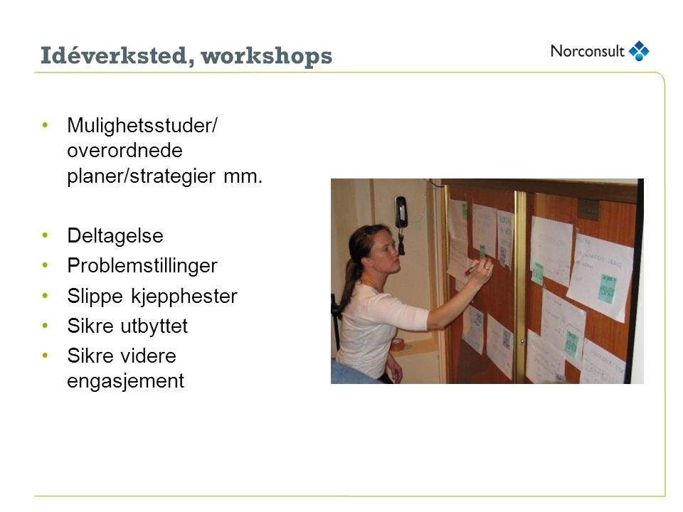 Idéverksted, workshops Mulighetsstuder/ overordnede planer/strategier mm.
