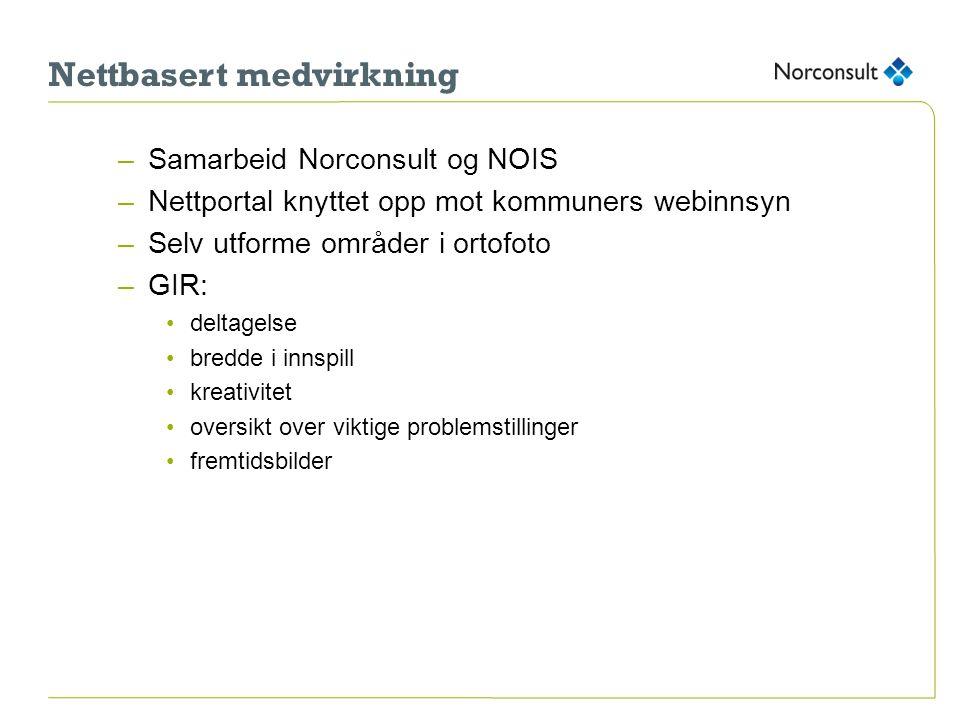 Nettbasert medvirkning –Samarbeid Norconsult og NOIS –Nettportal knyttet opp mot kommuners webinnsyn –Selv utforme områder i ortofoto –GIR: deltagelse