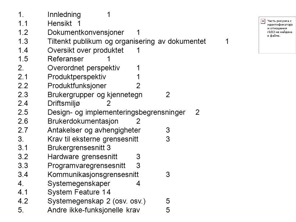 1.Innledning1 1.1Hensikt1 1.2Dokumentkonvensjoner1 1.3Tiltenkt publikum og organisering av dokumentet1 1.4Oversikt over produktet1 1.5Referanser1 2.Overordnet perspektiv1 2.1Produktperspektiv1 2.2Produktfunksjoner2 2.3Brukergrupper og kjennetegn2 2.4Driftsmiljø2 2.5Design- og implementeringsbegrensninger2 2.6Brukerdokumentasjon2 2.7Antakelser og avhengigheter3 3.Krav til eksterne grensesnitt3 3.1Brukergrensesnitt3 3.2Hardware grensesnitt3 3.3Programvaregrensesnitt3 3.4Kommunikasjonsgrensesnitt3 4.Systemegenskaper4 4.1System Feature 14 4.2Systemegenskap 2 (osv.